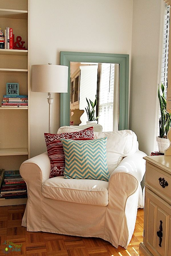 ikea ektorp chair -cozy reading nook | bedroom reading chair, home decor bedroom, reading nook