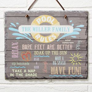 Water Rules Personalized Slate Plaque Pool Signs Slate Signs Pool Rules