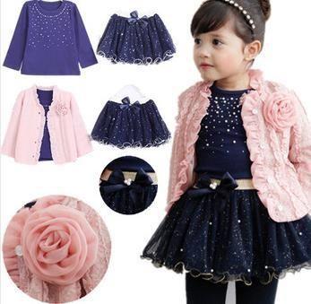Frete grátis 2014 do bebê da mola conjuntos de roupas meninas 3 peças terno meninas flor casaco + camisa azul T + saia tutu meninas roupas(China (Mainland))