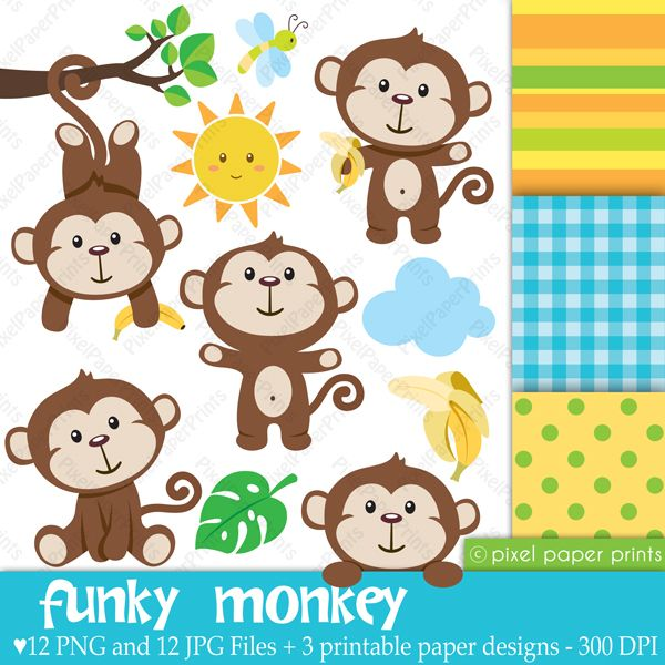 Kinderzimmer clipart  Funky Monkey Clipart & Digital Papers - Cliparts - Mygrafico.com ...
