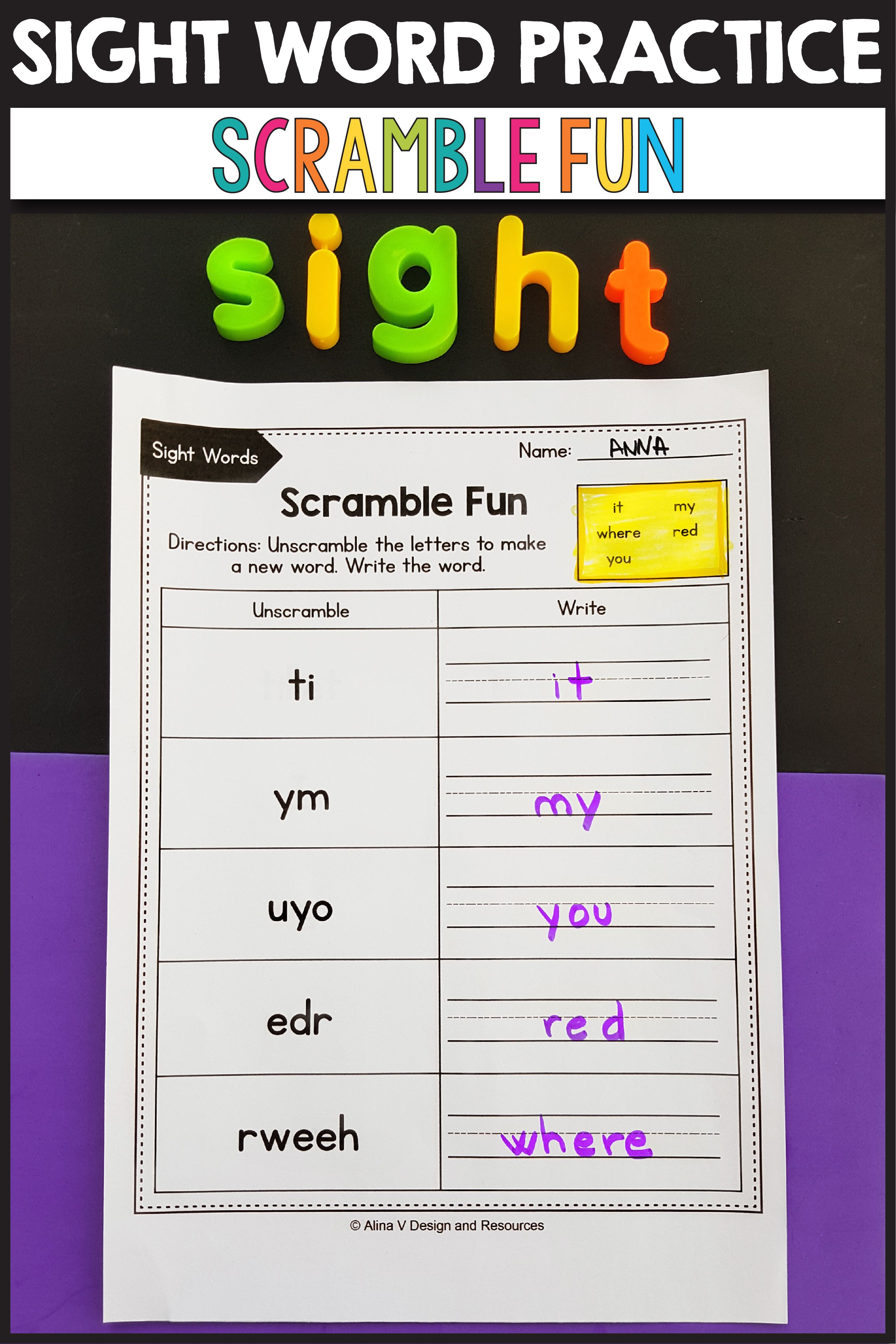 Sight Word Scramble Fun