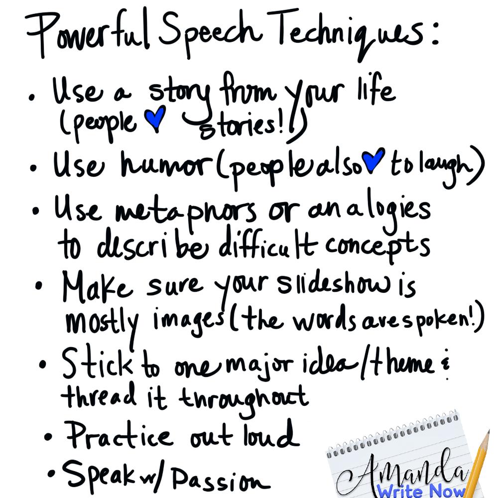 Speech writing techniques chart