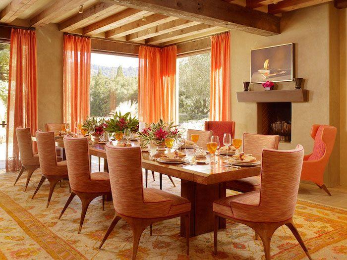 wonderful feng shui esszimmer farbe #1: feng shui, esszimmer in orange und hellbraun, langer tisch, stühle, gardinen