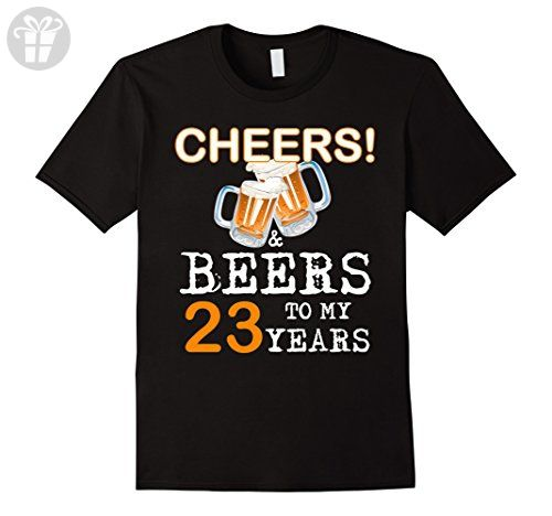 Mens Cheers and Beers To My 23 Years, Gift for 23th Birthday Medium Black - Birthday shirts (*Amazon Partner-Link)