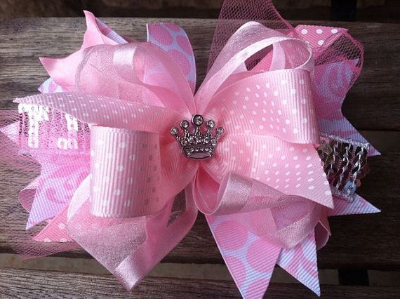 Double Stacked Boutique Hair Bow White Glitter Homemade Toddler Girl Feather