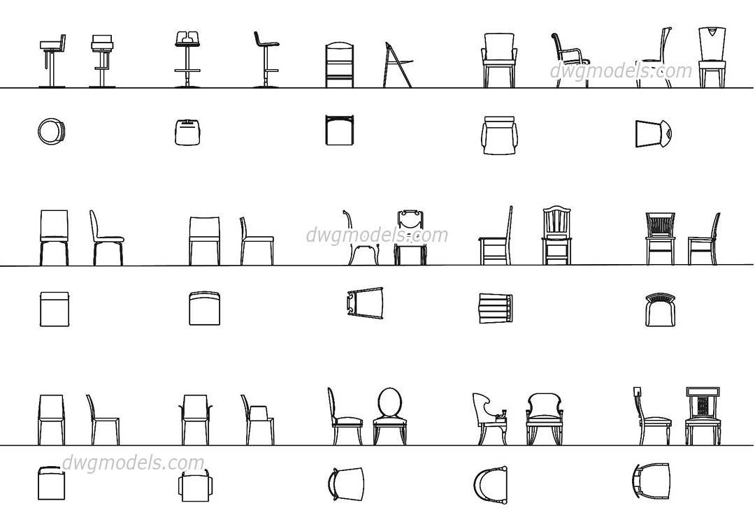 Chairs all projections cad blocks free dwg file