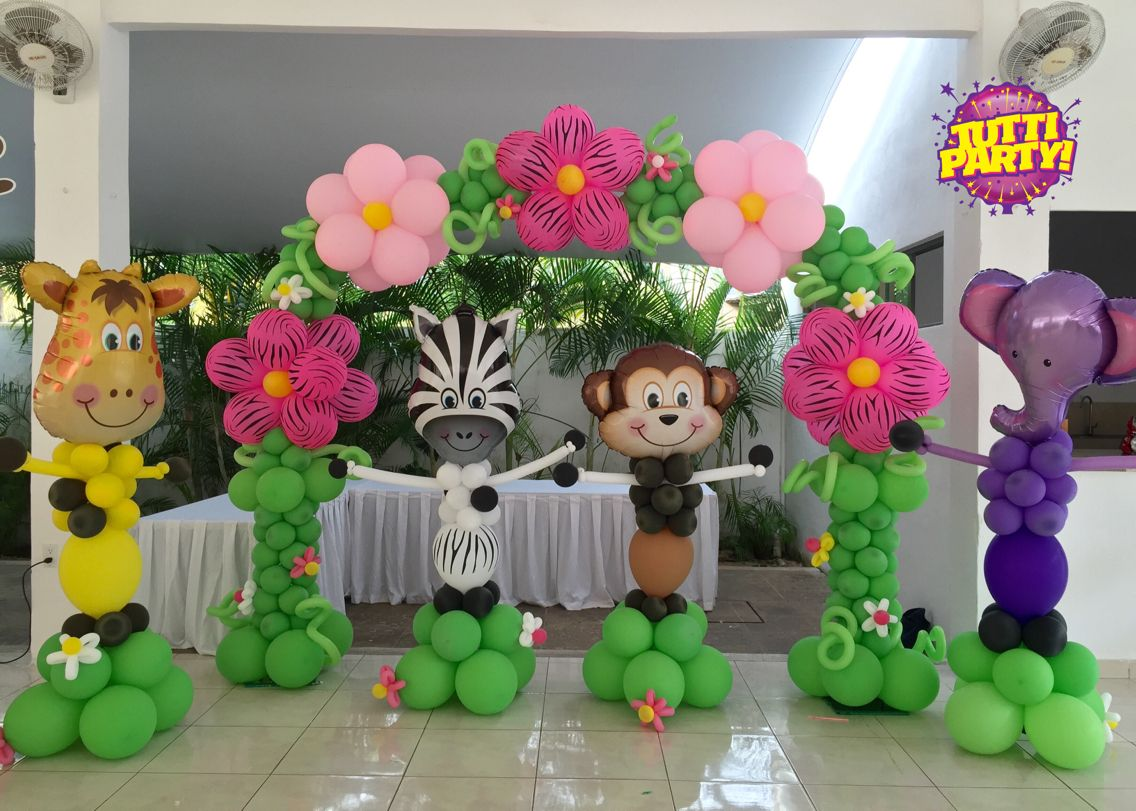 Jungle flower arch balloons animal party decorations for Animal party decoration