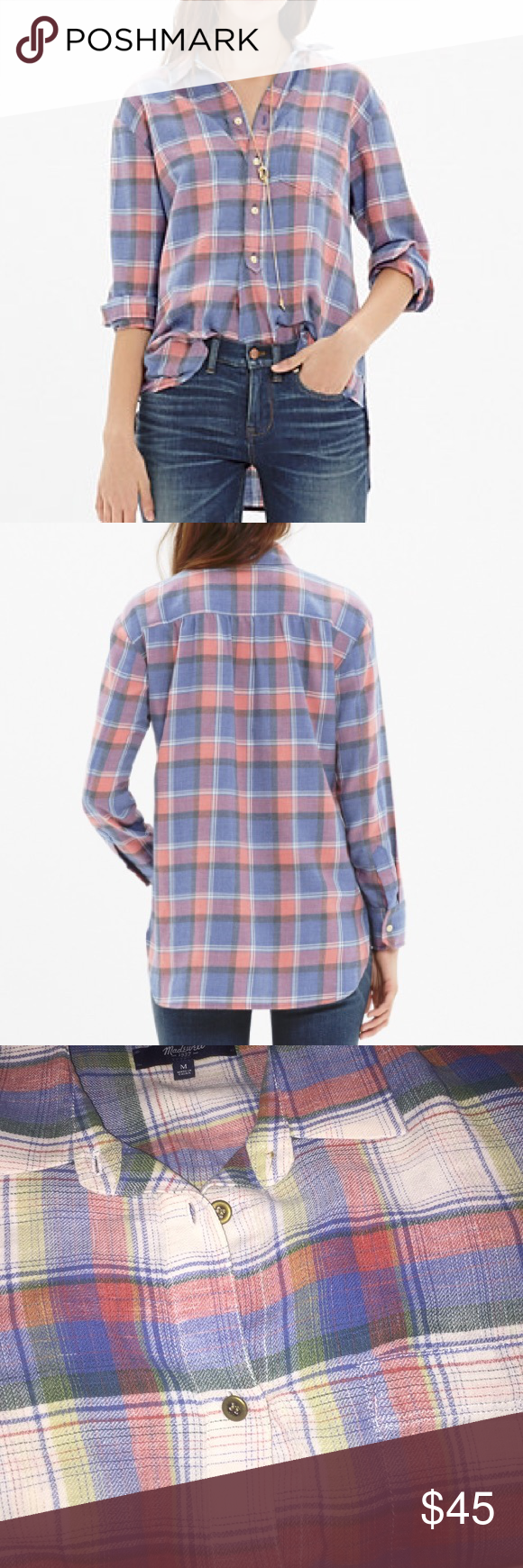 New Madewell Rivet & Thread flannel Harvey shirt This is a new Madewell lightweight flannel shirt. Size medium.  Limited edition, small batch and exclusively ours, Rivet & Thread designs are future keepsakes crafted from top-of-the-line fabrics. Take this totally essential button-down, for example: It features superspecial Japanese flannel in an easy-on-the-eyes blue and pink plaid.   •True to size. •Poly/cotton. •Machine wash. Madewell Tops Tees - Long Sleeve