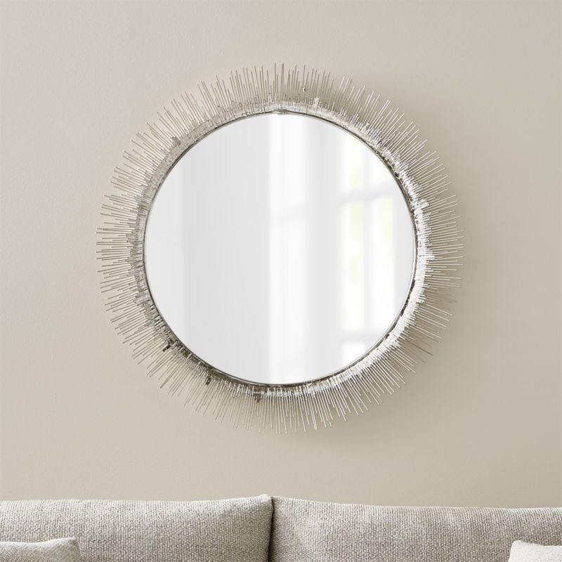 Clarendon Large Round Silver Wall Mirror Reviews Crate And