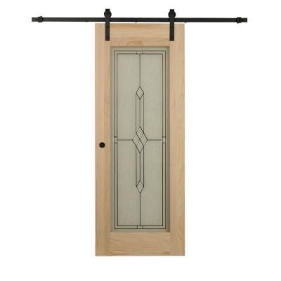 34 x 84 barn door on Pinecroft 34 In X 84 In Timber Hill Diamond Frost Glass And Unfinished Pine Wood Sliding Barn Door Slab With Hardware Kit 8bd30313284 The Home Depot Glass Barn Doors Barn Door