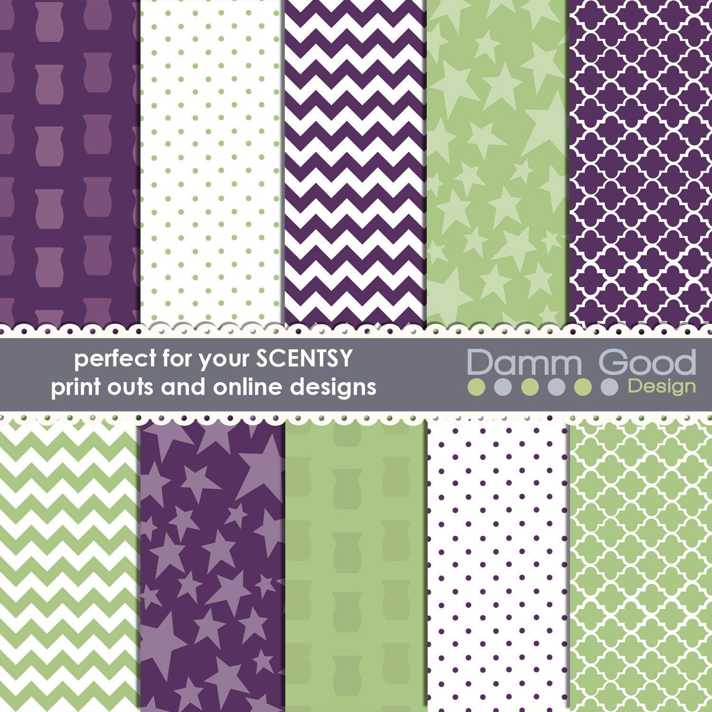 DIGITAL PAPERS- Scentsy Inspired Backgrounds chevron quatrefoil polka dot  wax warmer star DammGoodDesign 3.00 USD