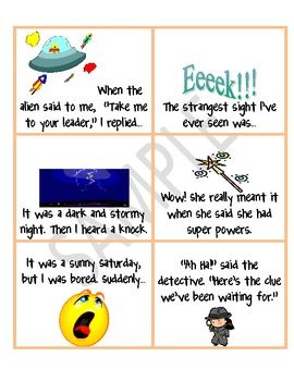 002 Narrative Story Starter Cards Narrative story, Story