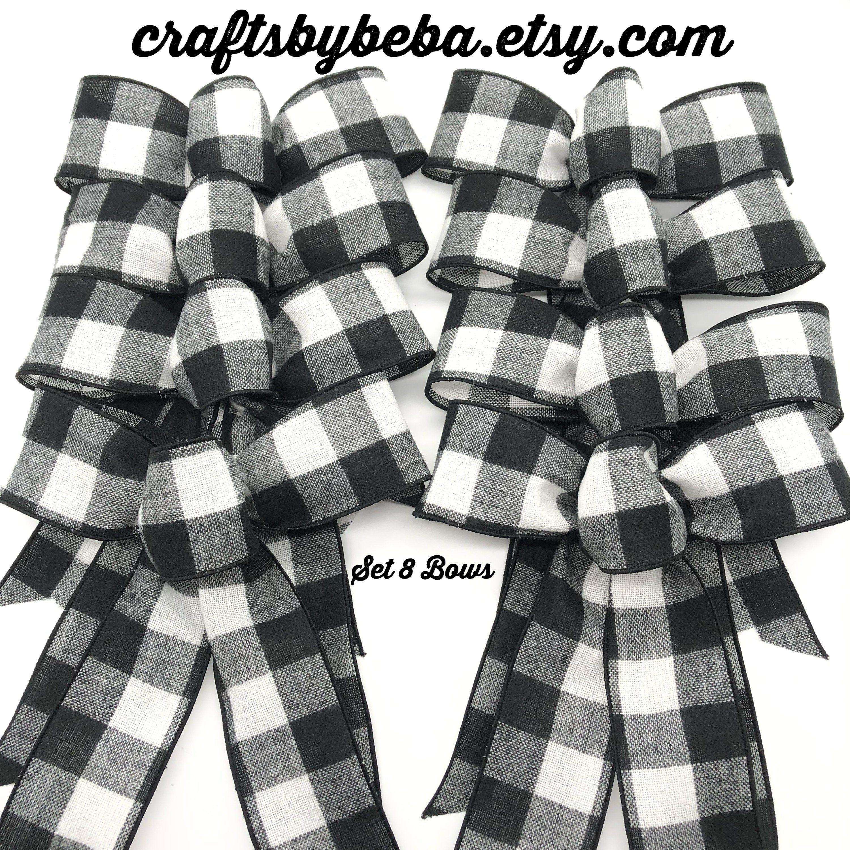 Buffalo Christmas Bows / Black and White Buffalo Decorative Bows / Set 8 Bows / Buffalo Christmas Tree Bows / Flannel Buffalo Bows #sunflowerchristmastree