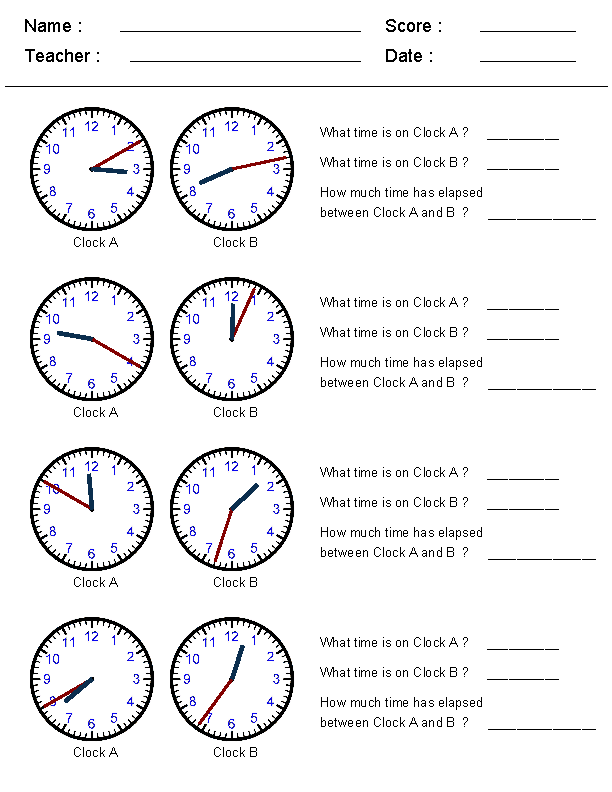 Free Elapsed Time Worksheets Table | Mathematics | Pinterest