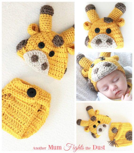 Crochet Pattern Baby Giraffe Hat Diaper Cover Crochet Giraffe