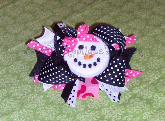 Christmas Winter Snowman Face Hair Bow Center Embroidery Design Machine Applique. $2.99, via Etsy.