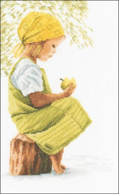 Lanarte Girl With Apple On Cotton - Cross Stitch Kit. LanArte is a manufacturer of high quality counted cross stitch kits and is renowned for its choice of desi