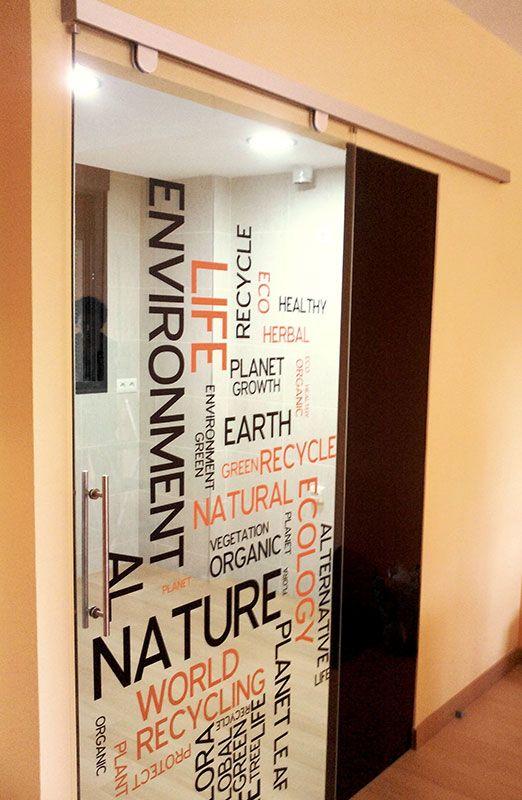 Resultado de imagen para puerta corrediza vidrio vinilo for Puertas de cristal para oficina