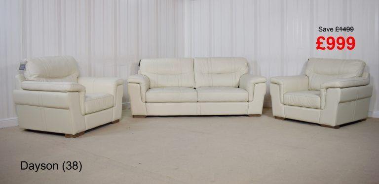 Homeflair Dayson Leather White 3 Seater Sofa 2 Chairs 38 999 Leather Sofa Sale Sofa Seater Sofa