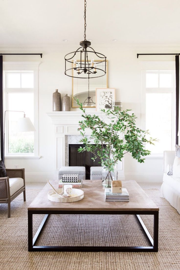 Vintagehome Rustic Neutral Fixer Upper style family room, coffee ...
