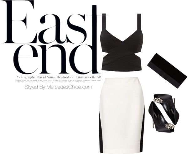 #cedric #charlier #white #black #pannel #skirt #heather #black #cutout #croptop #fashion #style #mercedeschloe #vogue #eastend  #davidsims #paris #giorgioarmani #bow #velvet #clutch #pumps #dolce #Black #crystal #embellished #peeptoe