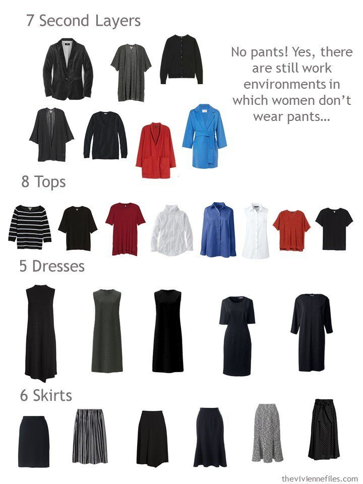 9. capsule wardrobe sorted by garment type. Add pants and even more outfit options