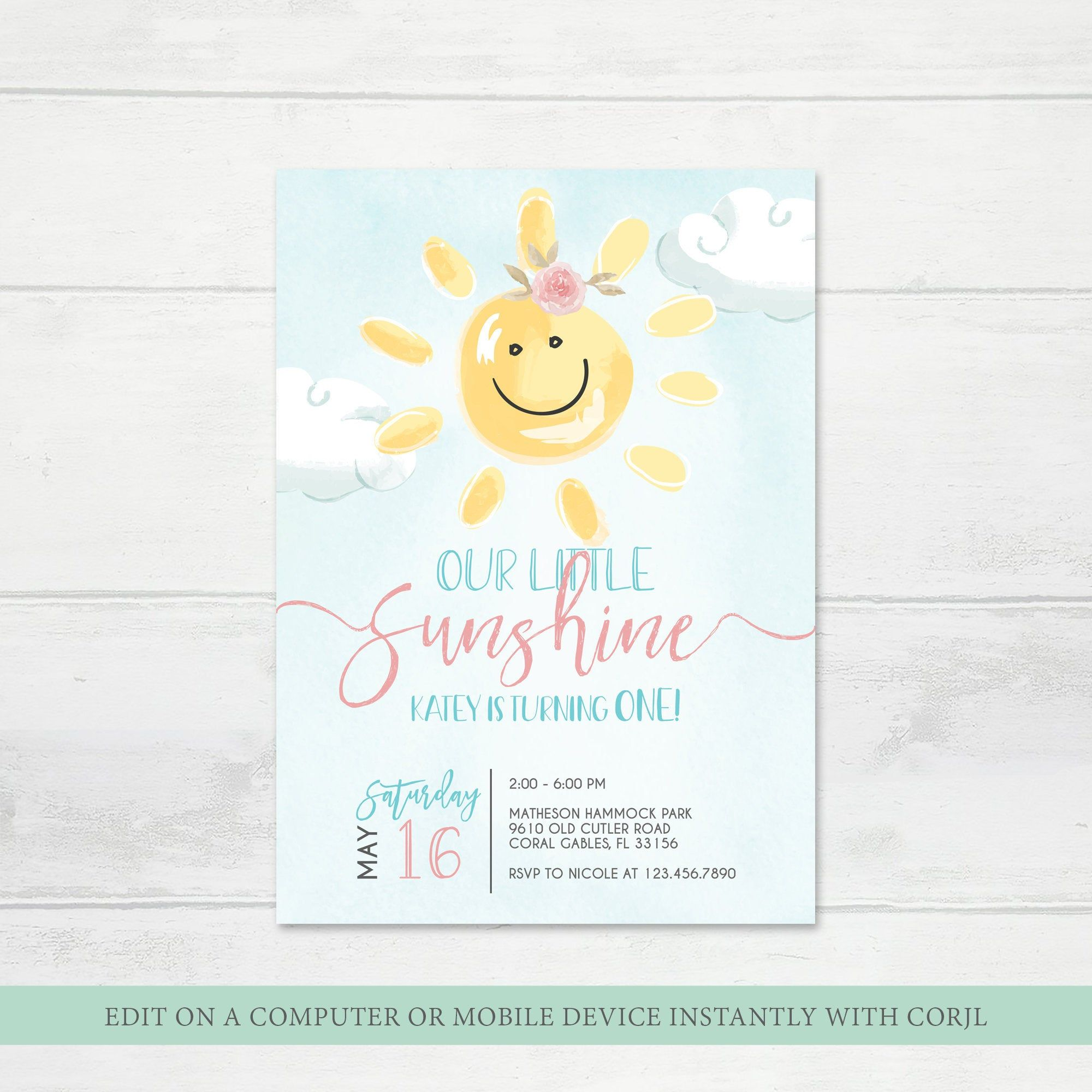 Our Little Sunshine Birthday Invitation Little Sunshine  Etsy
