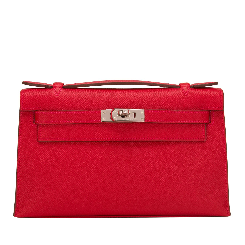 fd0c454bc1b3d ... shiny croc ghw 09 177f4 4418a  best price hermes kelly pochette rouge  casaque epsom palladium hardware handbag 16e27 bb7e9