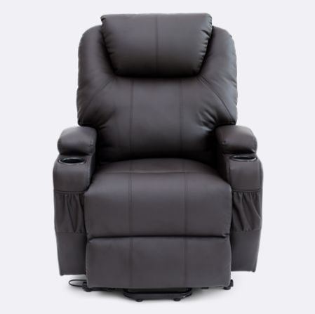 Cinemax Leather Rise Recliner Chair With Massage And Heat In Brown