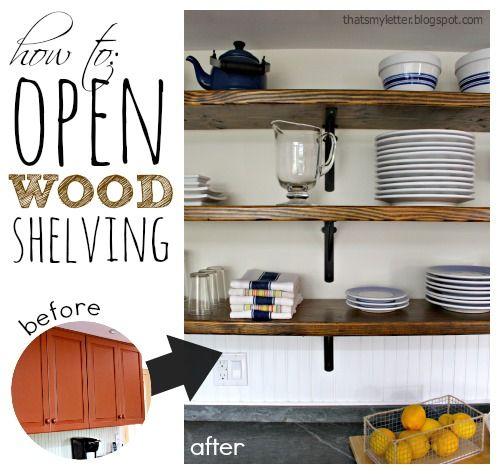 Diy Open Wood Shelving Diy Kitchen Renovation Open Kitchen