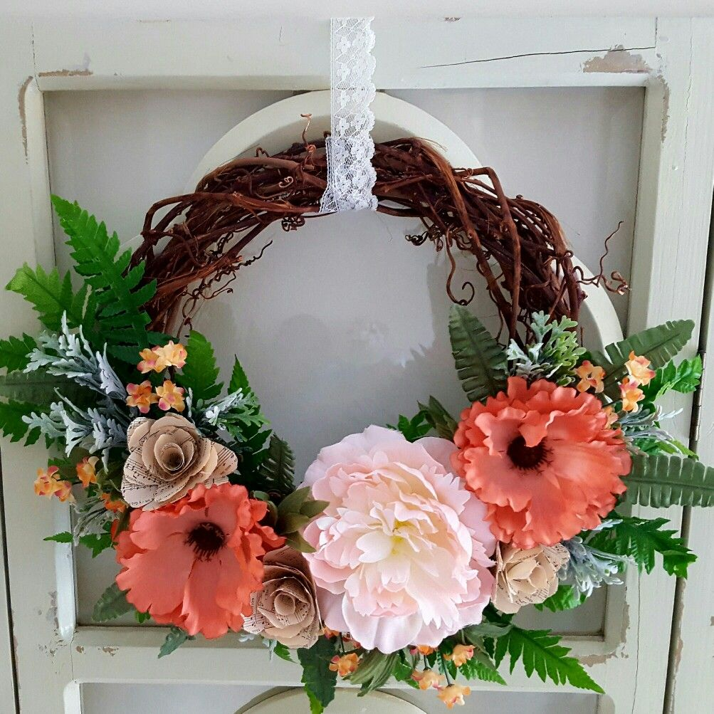 Peach And Coral Spring Wreath With Peony Poppy And Dusty Miller
