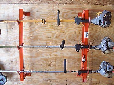 Holds 4 Enclosed Trailer Lockable Weedeater Landscape Trimmer Edger Racks Landscaping Equipment Landscape Trailers Diy Rack