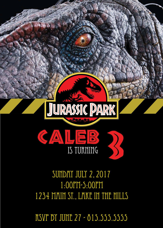 Park Birthday Invitation Template Jurassic