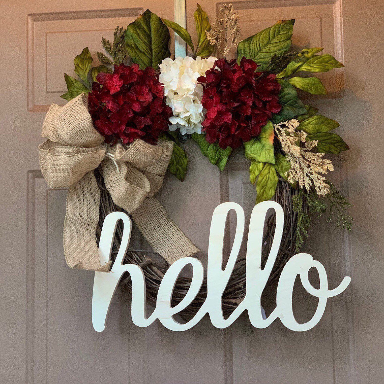 Latest Homedecor Ideas: Hello Wreath,hello Wreath For Front Door,red Wreath,red