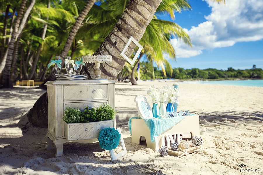 Cute Beach Wedding Decor In White And Blue Colors At The Dominicana