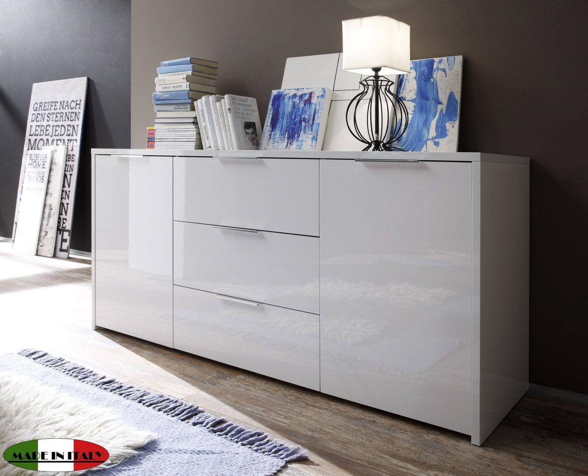 Liebenswert Hochglanz Sideboard Sammlung Von Kommode Anrichte Weiß Lackiert 2-türig 160cm Neu