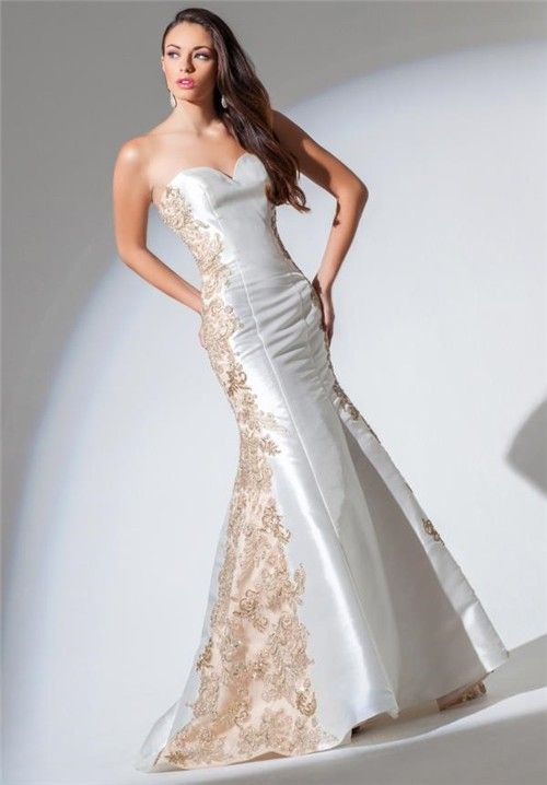 Lace and satin prom dress