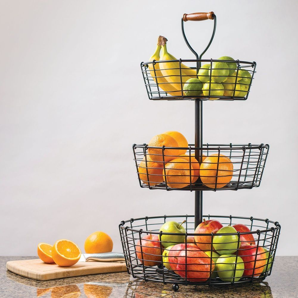 Countertop Fruit Basket Wrought Iron Design Tiered Stand Wrought