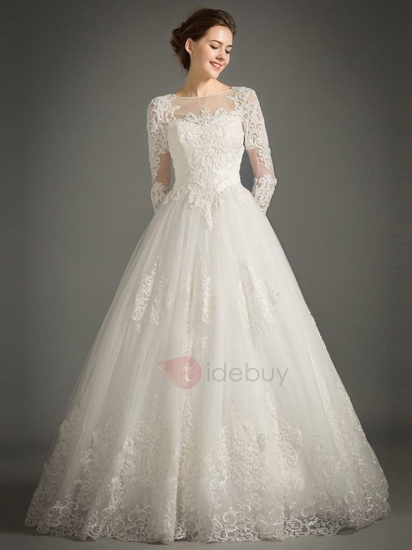Tidebuy.com Offers High Quality Beaded Appliques Long Sleeve Wedding Dress, We h… – favorite styles bridal gowns!!