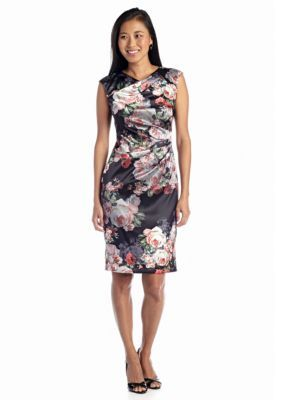 Ivy  Blumaggy boutique  Cap-Sleeve Floral Printed Sheath Dress