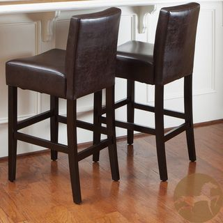 Lopez 30 Inch Brown Leather Bar Stools By Christopher Knight Home Set Of 2 Brown Leather Bar Stools Bar Stools Leather Bar Stools