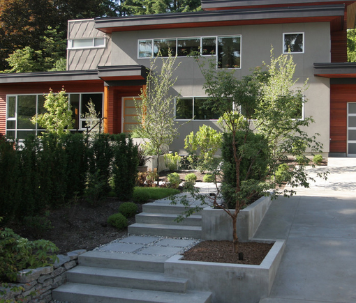 25 wonderful examples of terraced front yard gardens for Allure cement siding