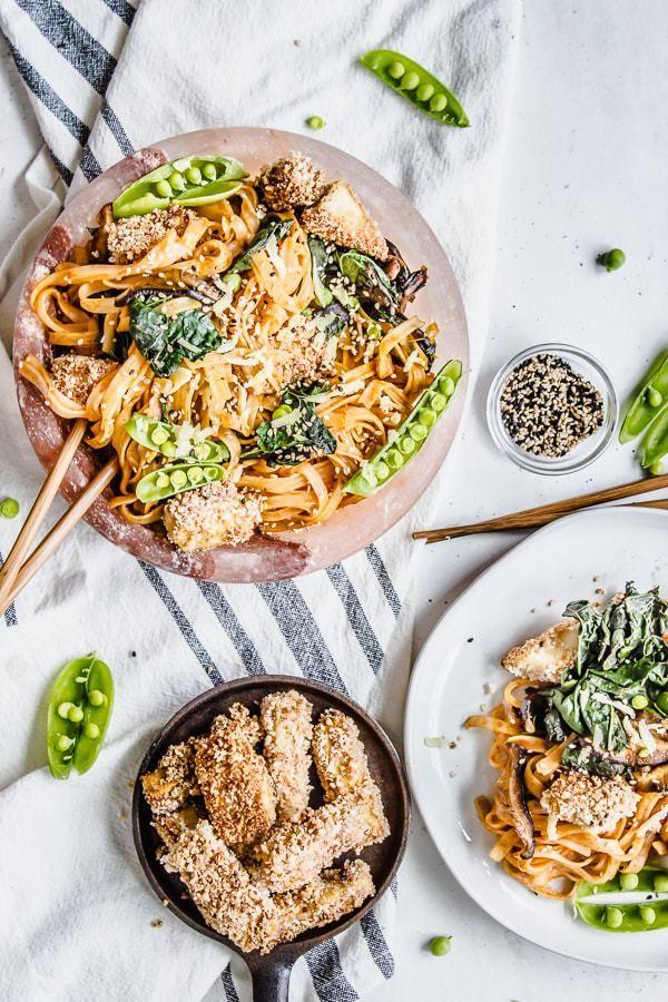 Curried Shiitake Kale Noodle Bowls With Panko Crusted Tofu