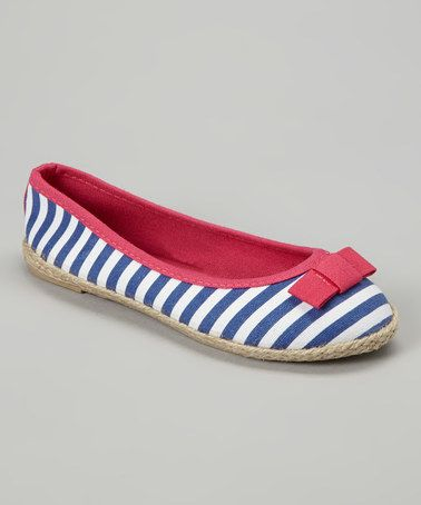 This Navy & Fuchsia Stripe Flat by Chatties is perfect! #zulilyfinds