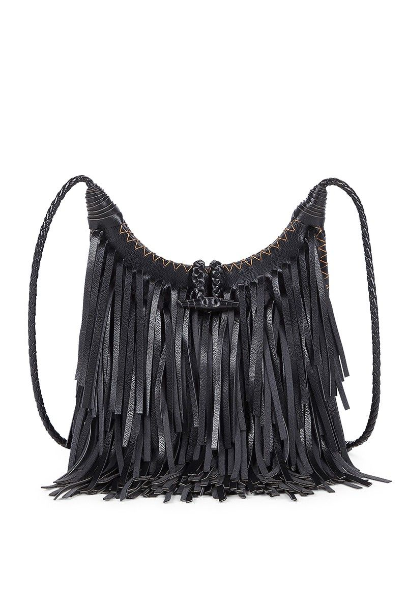 Black Fringe Crossbody Bag With A Braided Strap And Intricate Sching Detail