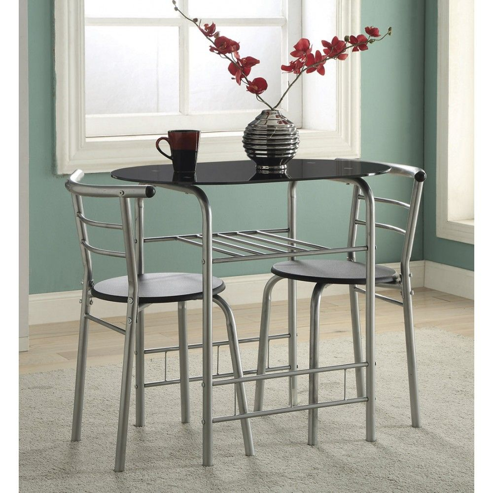 coaster industrial 3 pc dinettes set in black  silver