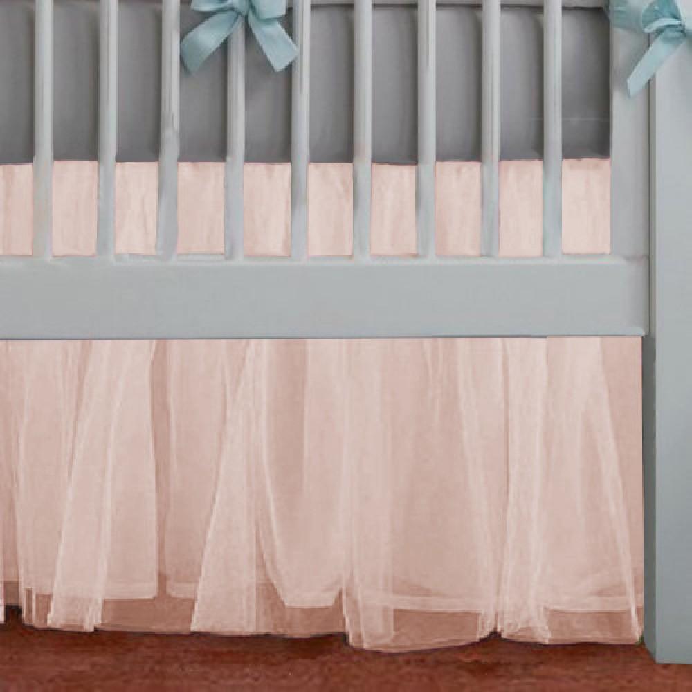 Adorable Peach Tulle Crib Skirt Dust Ruffle Mini Crib Skirt In Adjustable Drop Lengths Tulle Crib Skirts Baby Crib Skirts Crib Skirts