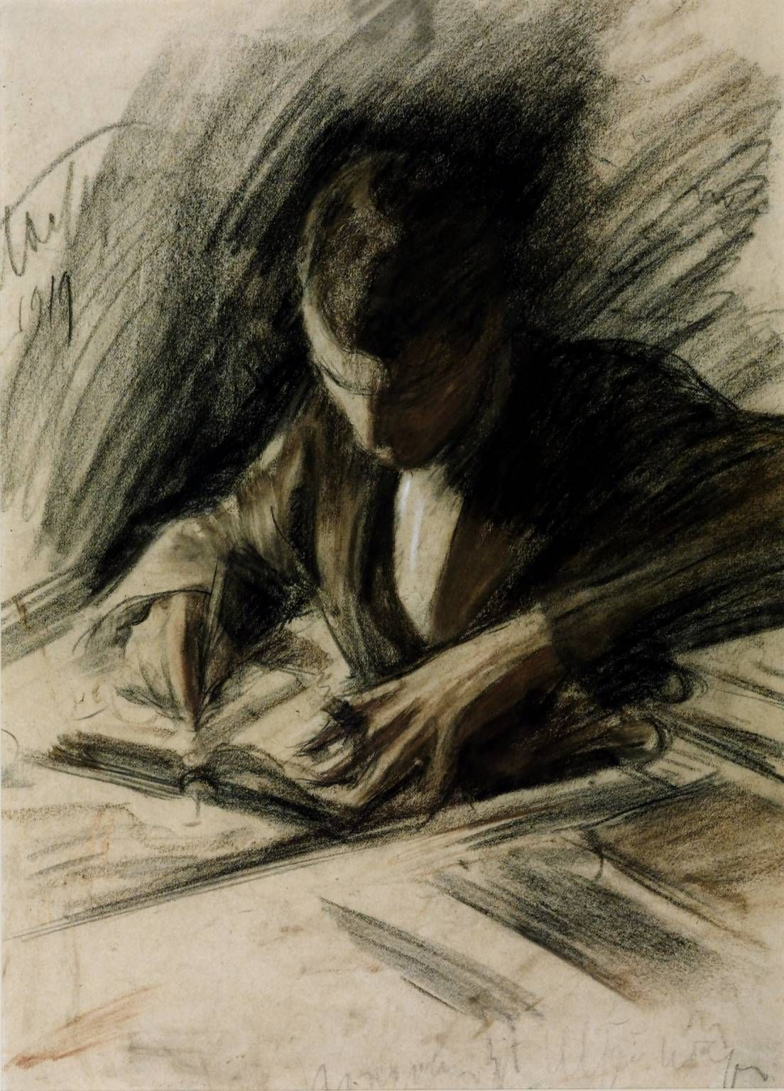 Boris Pasternak writing, by Leonid Pasternak, 1919