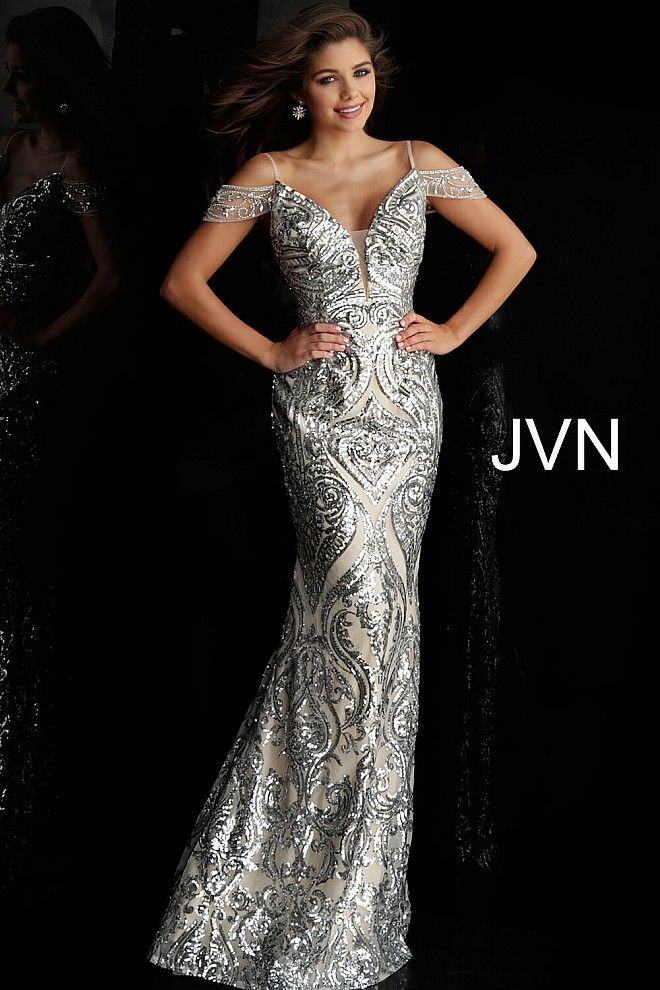749671d81840d Silver and nude off-the-shoulder fitted prom dress #JVN #silverpromdress