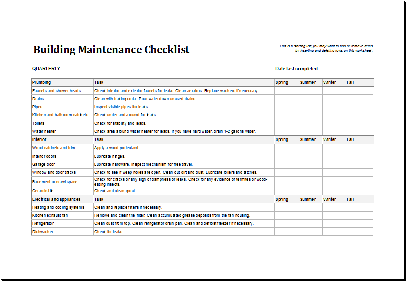 Building Maintenance Checklist Download At HttpWwwXltemplates